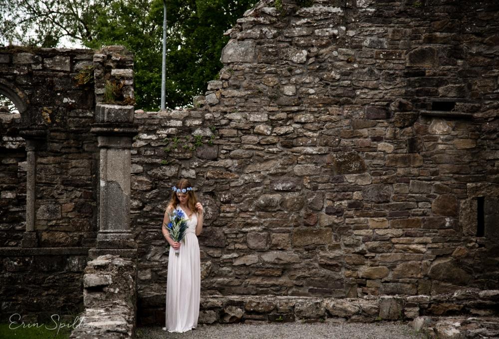 Ireland - Jerpoint Abbey - Marina Bridal Bride Irish Ruins Woman Wedding Photography-14