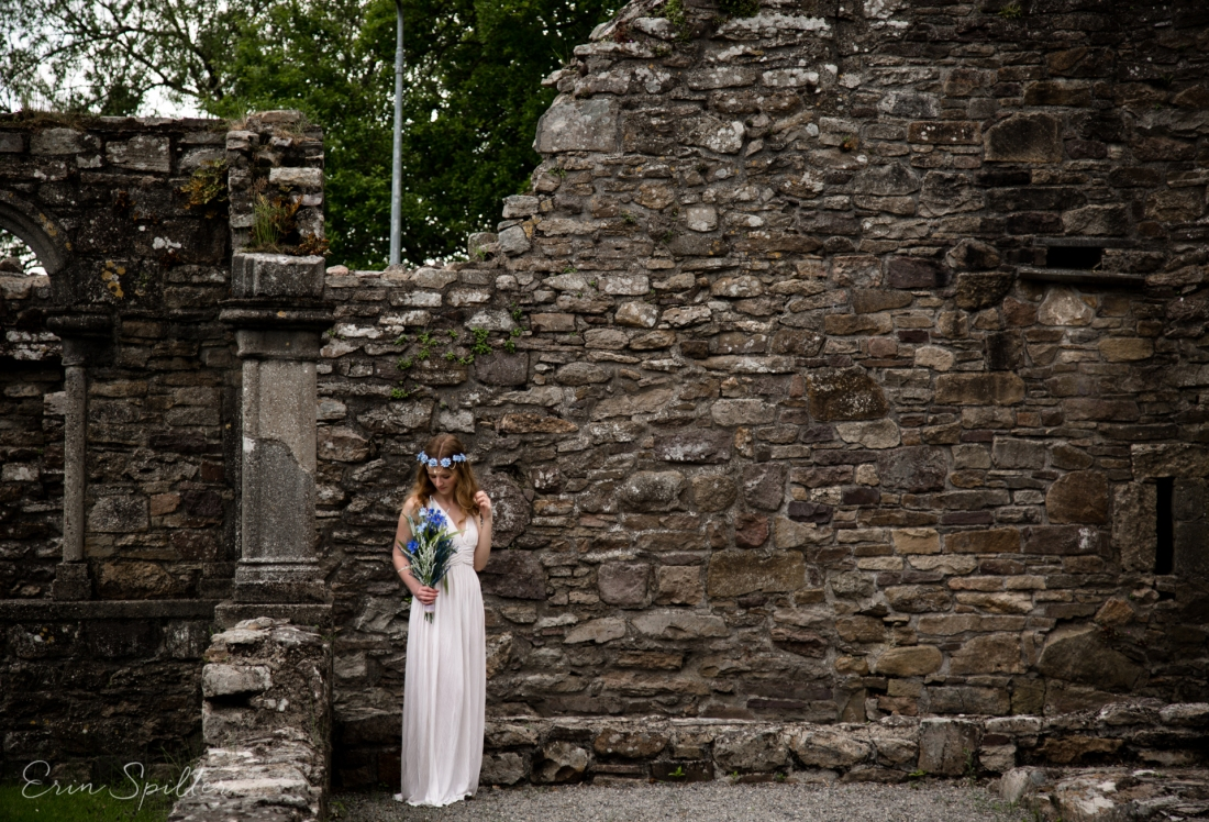 Ireland - Jerpoint Abbey - Marina Bridal Bride Irish Ruins Woman Wedding Photography-14