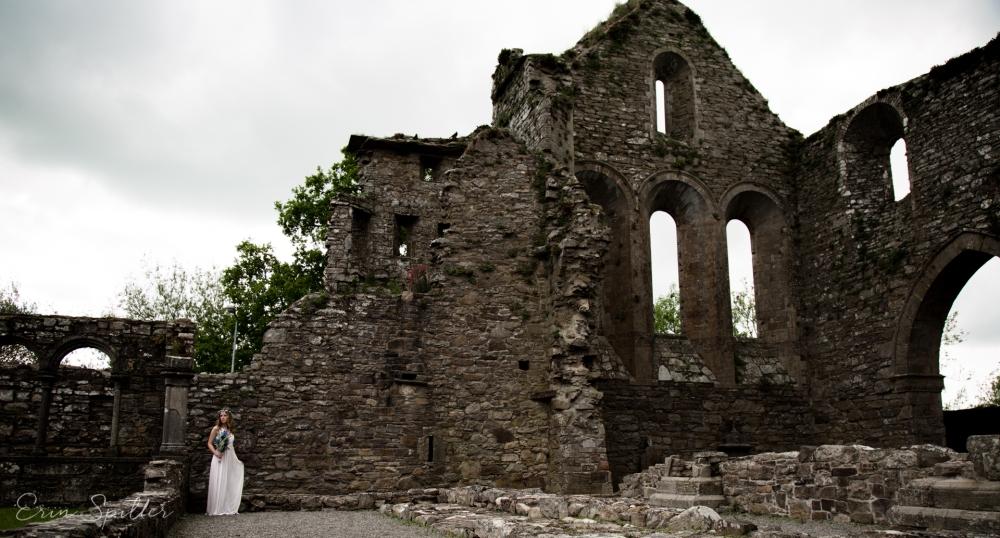 Ireland - Jerpoint Abbey - Marina Bridal Bride Irish Ruins Woman Wedding Photography-19