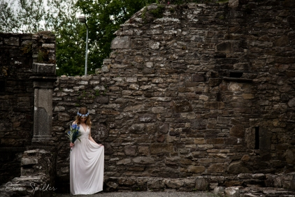 Ireland - Jerpoint Abbey - Marina Bridal Bride Irish Ruins Woman Wedding Photography-22