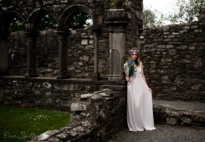 Ireland - Jerpoint Abbey - Marina Bridal Bride Irish Ruins Woman Wedding Photography-24