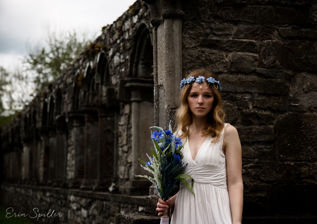 Ireland - Jerpoint Abbey - Marina Bridal Bride Irish Ruins Woman Wedding Photography-26