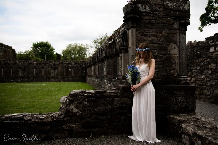 Ireland - Jerpoint Abbey - Marina Bridal Bride Irish Ruins Woman Wedding Photography-29